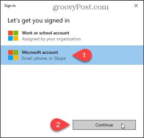 Sign in dialog for Windows Insider Program