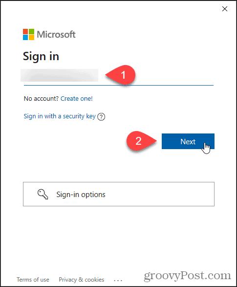 Enter Microsoft email for Windows Insider Program