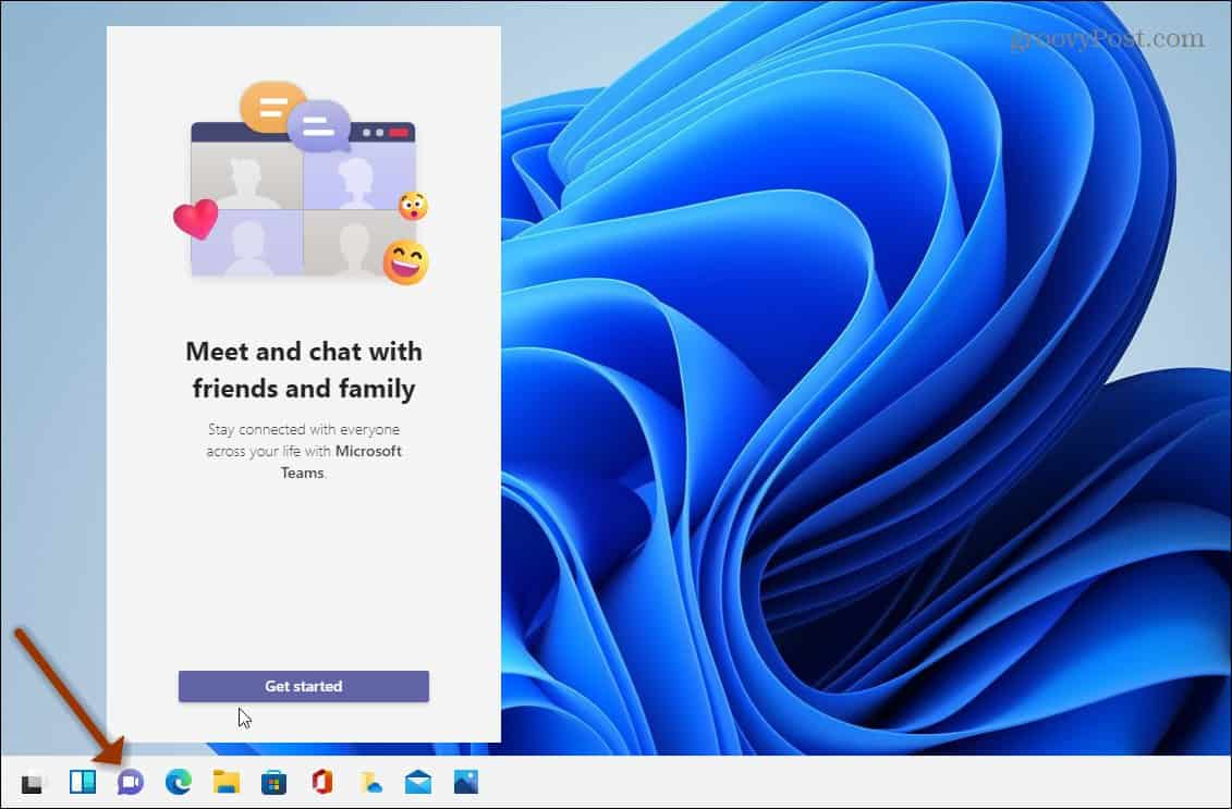 Chat button taskbar Teams Windows 11