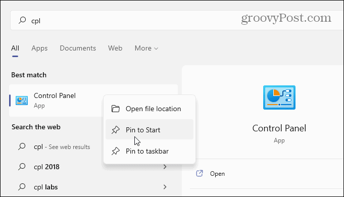 Search cpl start menu windows 11