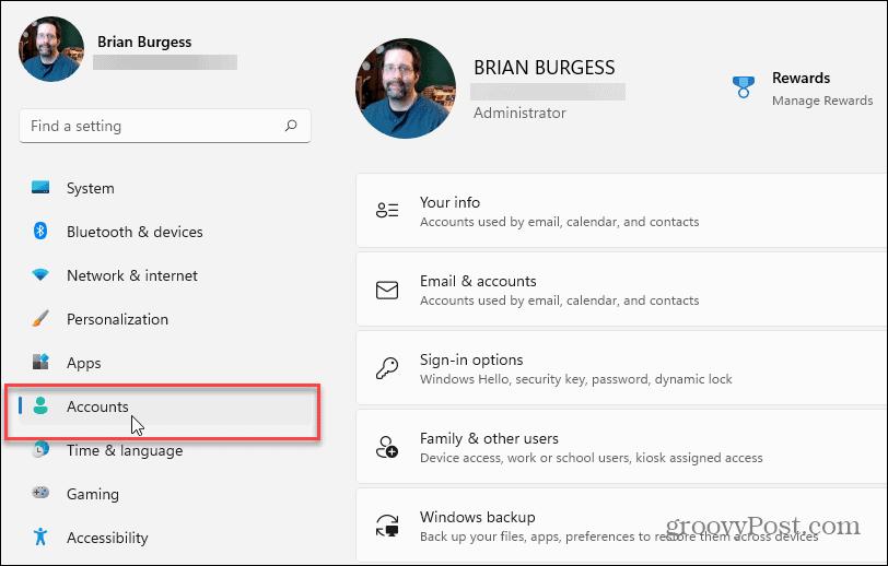 Settings Accounts Windows 11