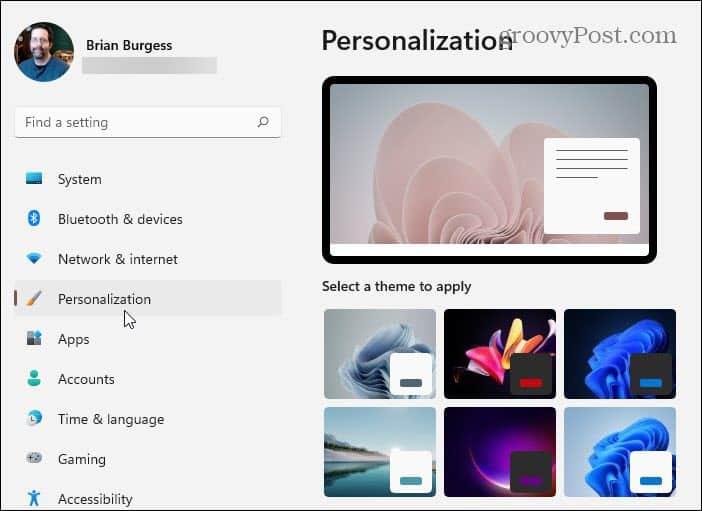 Settings Personalization Windows 11