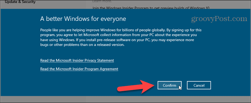 Confirm Windows Insider Program signup