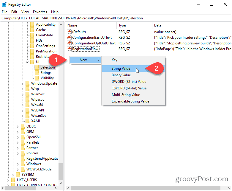 Create new string value in Windows registry