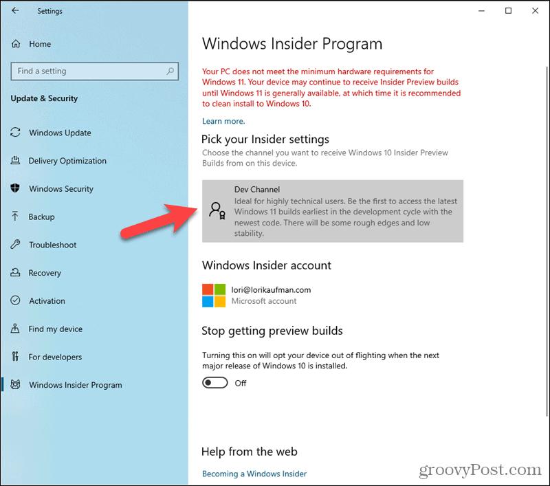 Dev channel set in Windows Insider Program settings