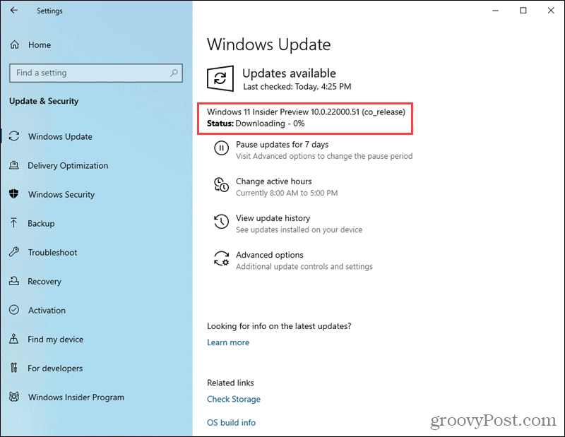 Windows 11 Preview build downloading