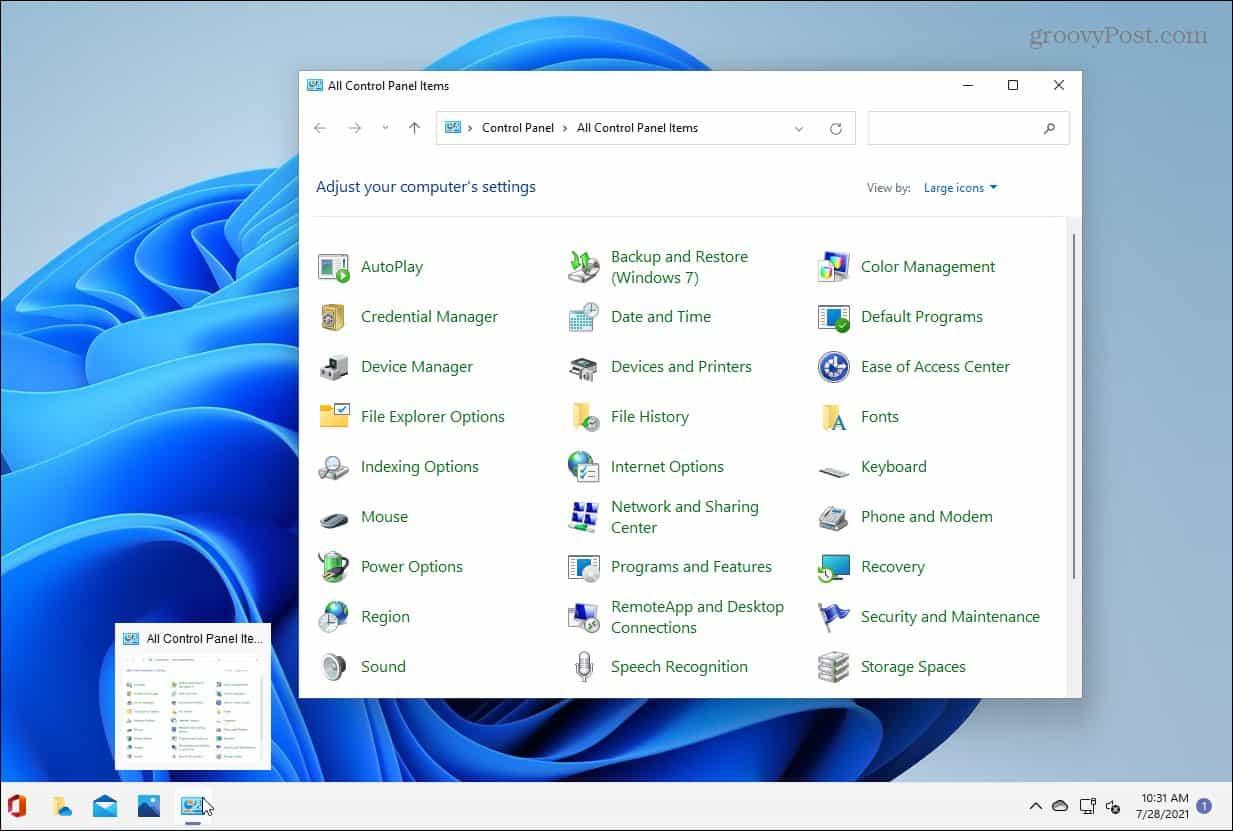Control Panel Open on Windows 11