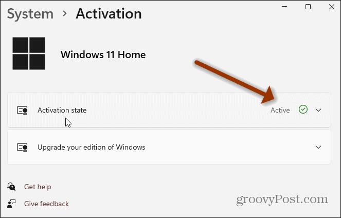 Windows 11 Activation Settings page