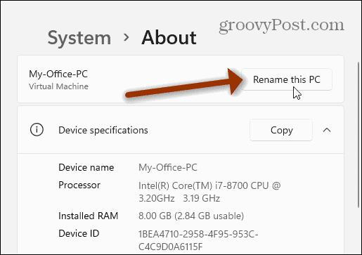 Rename this PC