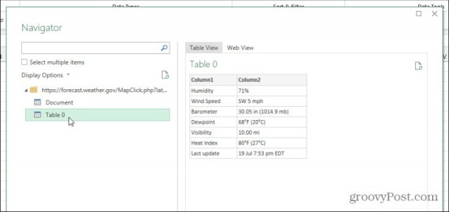 web table preview
