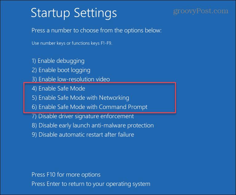Safe Mode Startup Settings Windows 11