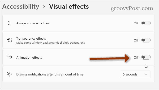 turn off animation effects Windows 11