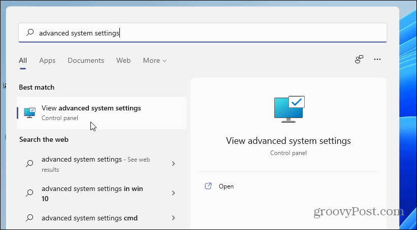 advanced system settings Windows 11