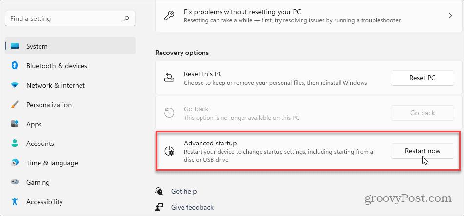 Advanced Startup Settings Windows 11
