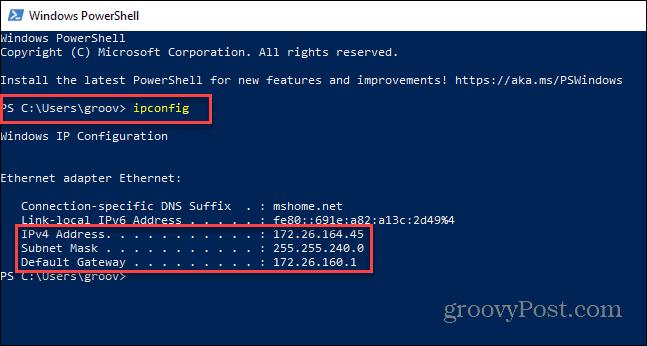 powershell IP address Windows 11