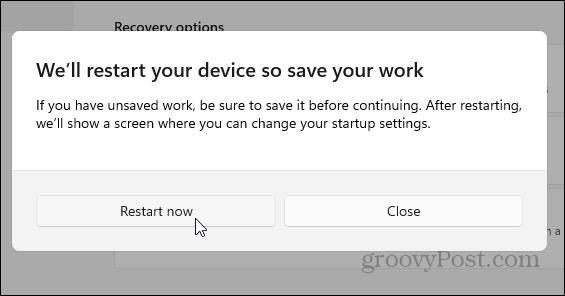 Restart Now Windows 11