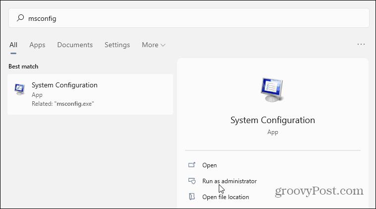 msconfig start Windows 11