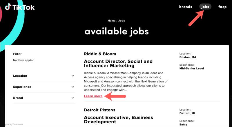 Available jobs on TikTok Resumes online