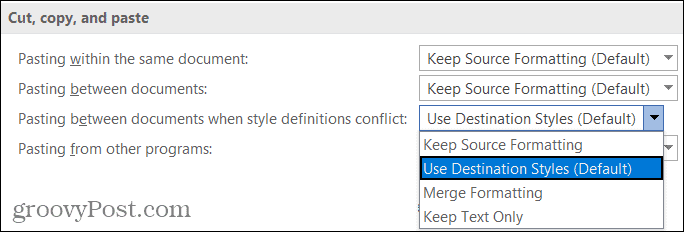 Basic Paste Options in Word