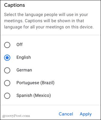 Choose a Captions language