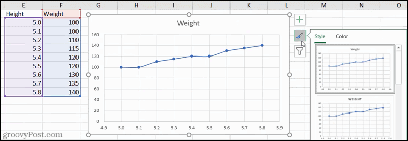 Chart Styles in Excel
