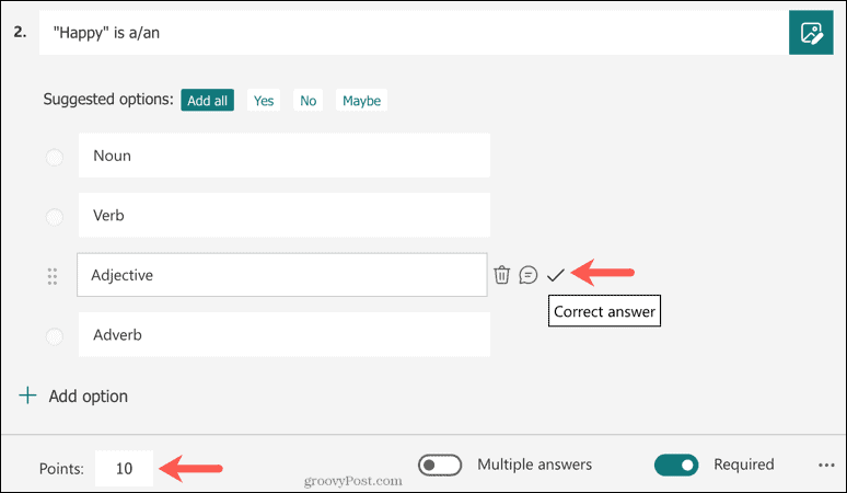 Choice Question in Microsoft Forms