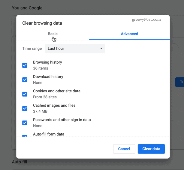 Clearing browser data in Chrome