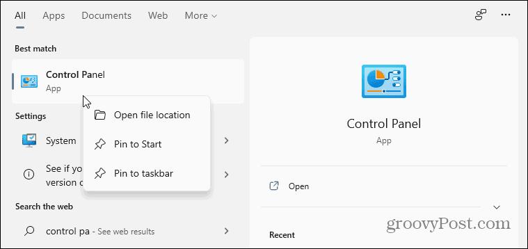 Classic Control Panel Windows 11