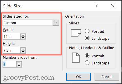 Enter a custom slide size in PowerPoint