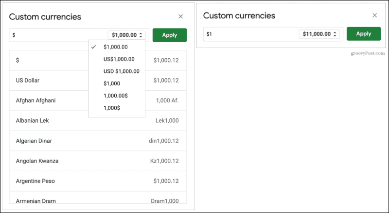 Custom currency formats