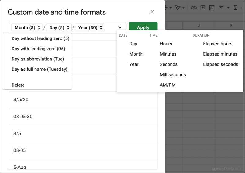 Custom date and time formats