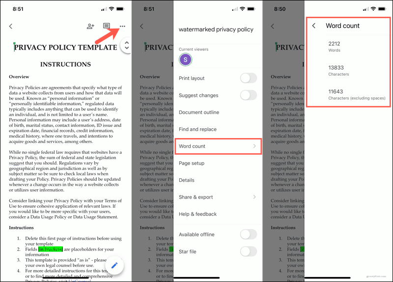Word count in Google Docs mobile