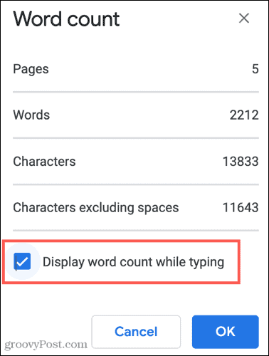 Display the Word Count While Typing in Google Docs