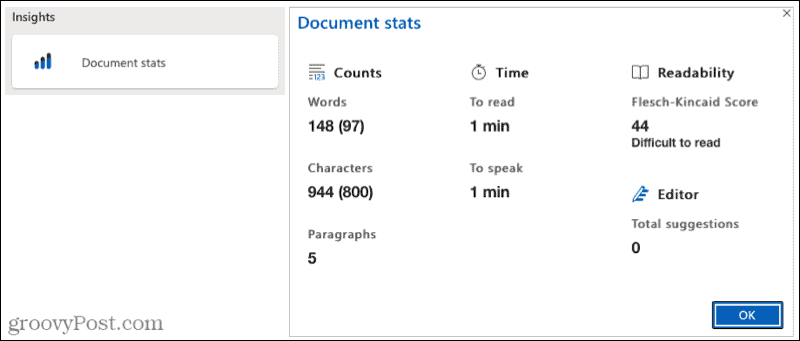 Microsoft Editor Document Stats