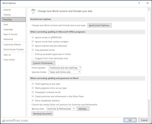 Word Proofing settings for Microsoft Editor