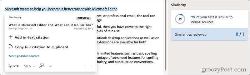 Microsoft Editor web similarity