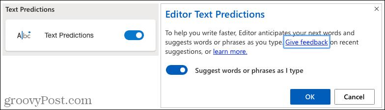 Microsoft Editor Text Predictions