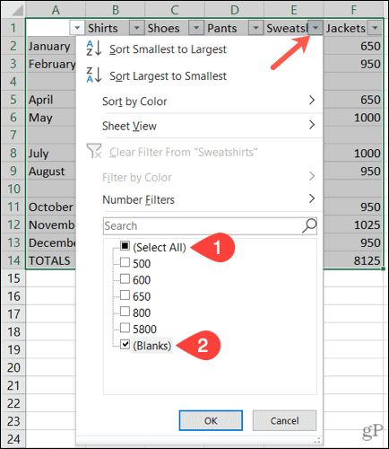Filter blank rows in Excel