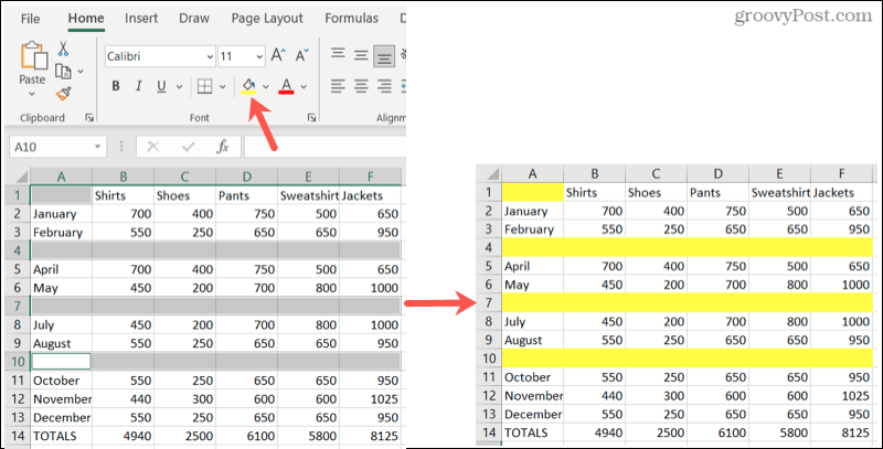 Highlight blank rows in Excel
