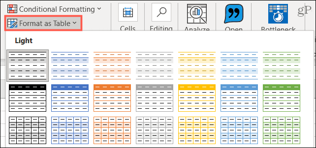 Format as Table in Excel