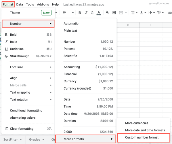 Format, Numbers, More Formats, Custom Number Format in Google Sheets