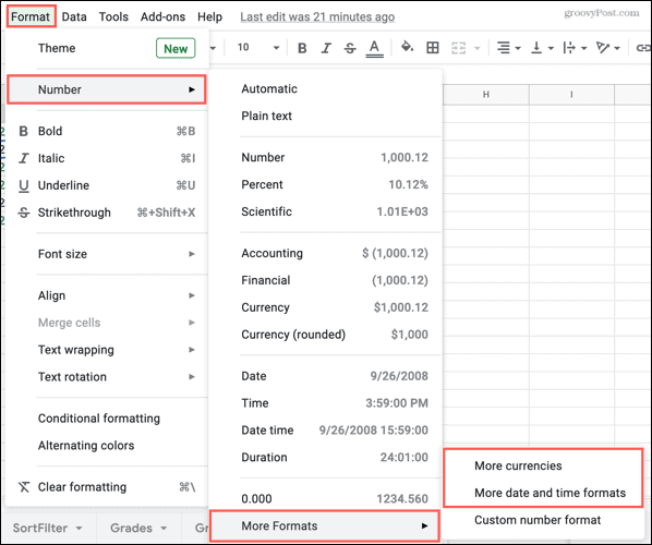 Format, Numbers, More Formats in Google Sheets