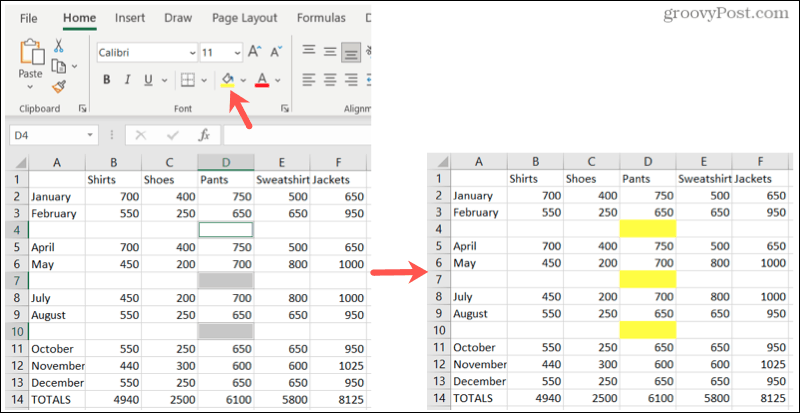 Highlight blanks in Excel
