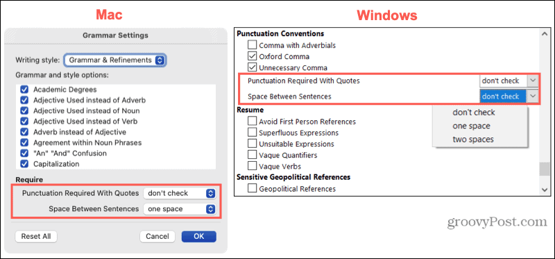Punctuation settings on Mac and Windows