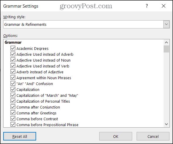 Grammar Settings in Word on Windows