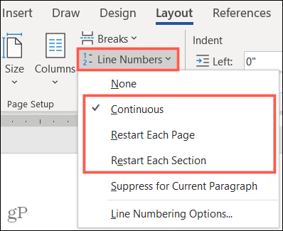 Line number position options
