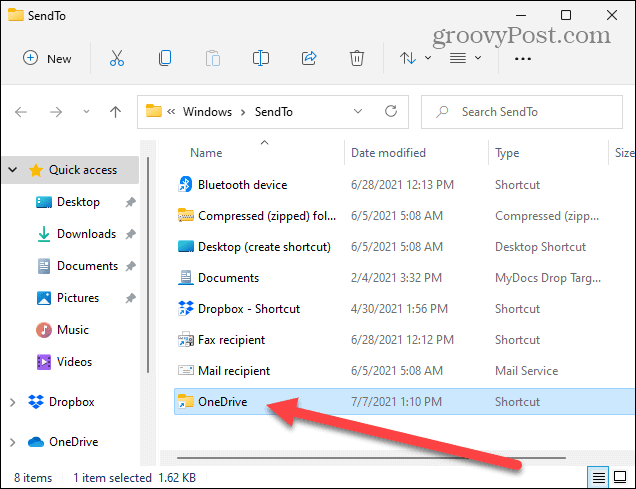 Item locations send to folder windows 11