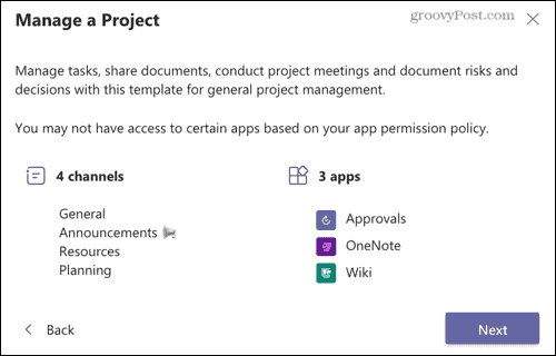Manage a Project Teams template
