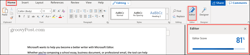 Microsoft Editor button and sidebar in Word online