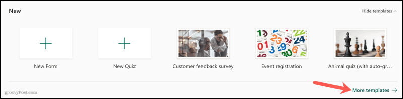 Click More Templates on Microsoft Forms